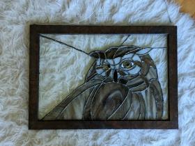 // backyard owl framed