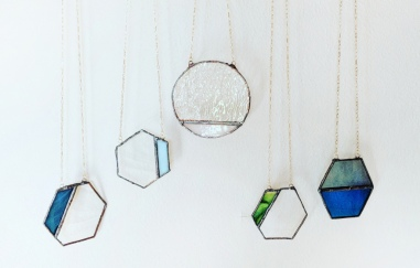 // stained glass geometric necklaces