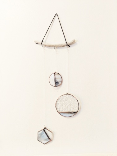 // glass and driftwood geometric mobile