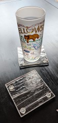 // clear textured coaster set